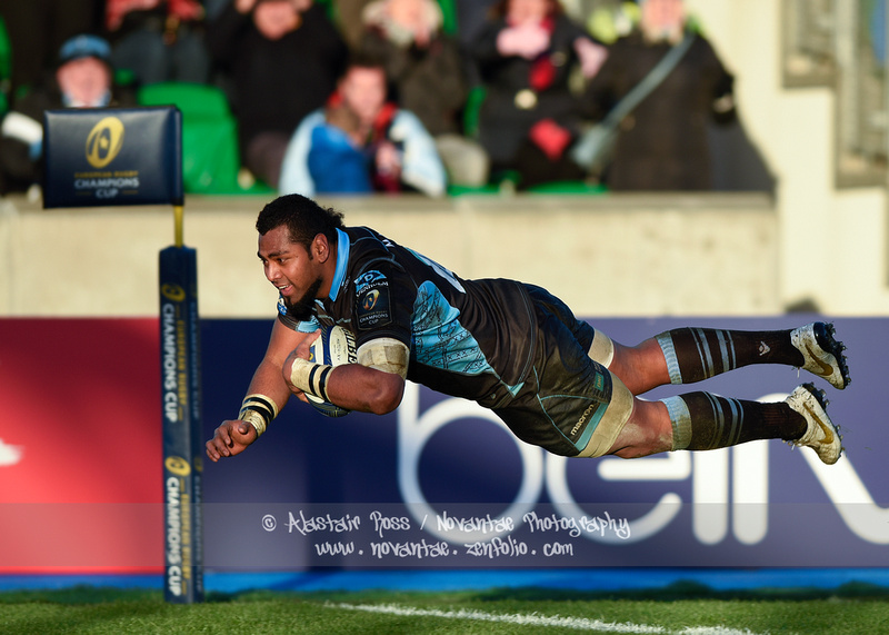 Taqele Naiyaravoro scores for Glasgow Warriors vs Llanelli Scarlets in the European Rugby Champions Cup.