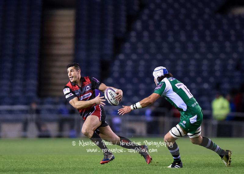 Phil Burleigh (Edinburgh Rugby) evades Blair Cowan (London Irish) at BT Murrayfield Stadium, Edinburgh.