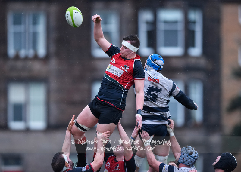 Action from Heriots RFC vs Glasgow Hawks in the BT Premiership at Goldenacre, EdinburghPhoto Credit: Alastair Ross / Novantae Photography
